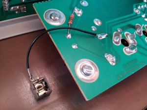photo showing the ground wire of the new Moog Rogue Filter CV input jack