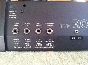 photo showing Moog Rogue Filter CV input jack mod