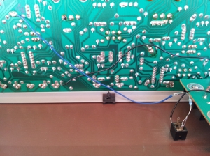 photo showing the Moog Rogue Filter CV summing node and input mod wiring