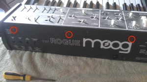 photo of the location of Moog Rogue screw points for the main PCB, external