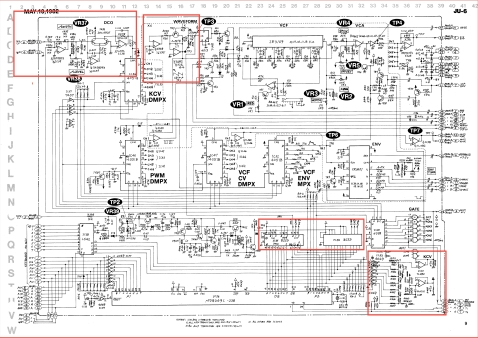 Juno 6 main board schematic with highlights