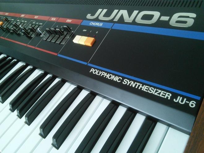 partial angle shot of a Roland Juno 6