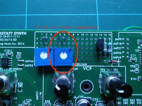 Werkstatt filter CV input mod PCB top