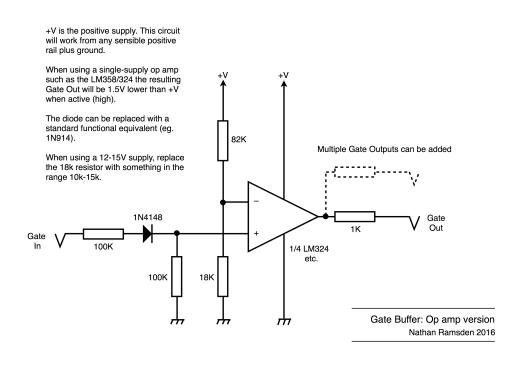 Gate buffer: op amp version