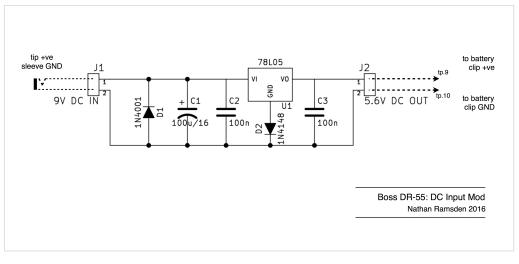 Boss DR-55 DC input mod schematic