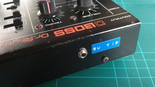 DR-55 DC input socket and label