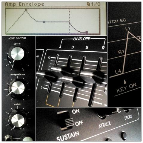 Various synthesizer envelope controls