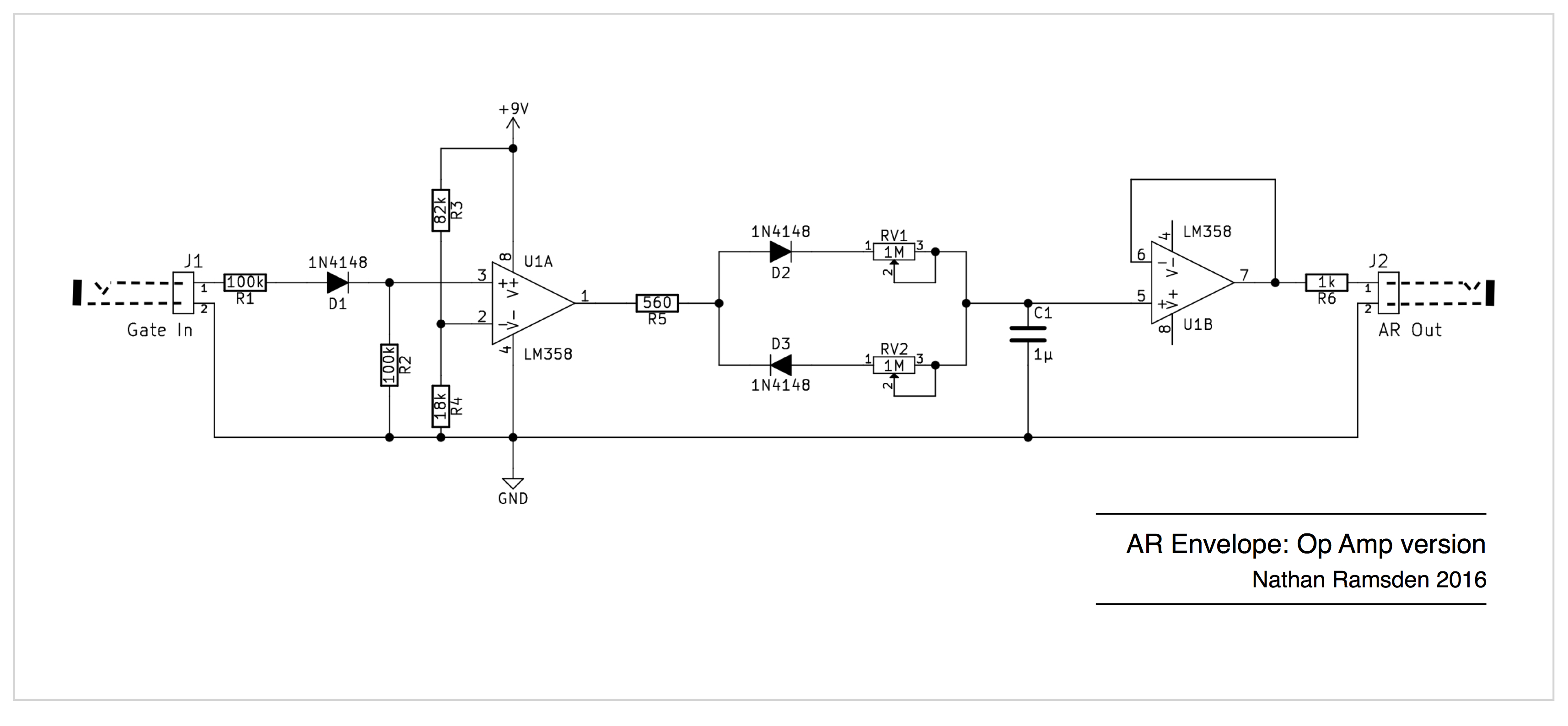 Envelope Circuits A Simple Ar Design Using Op Amps Synthnerd Tone Generator Circuit Diagram Operational Amplifier Attack Release