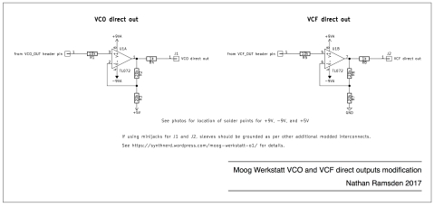 Schematic for improved VCO and VCF direct outs on the Moog Werkstatt