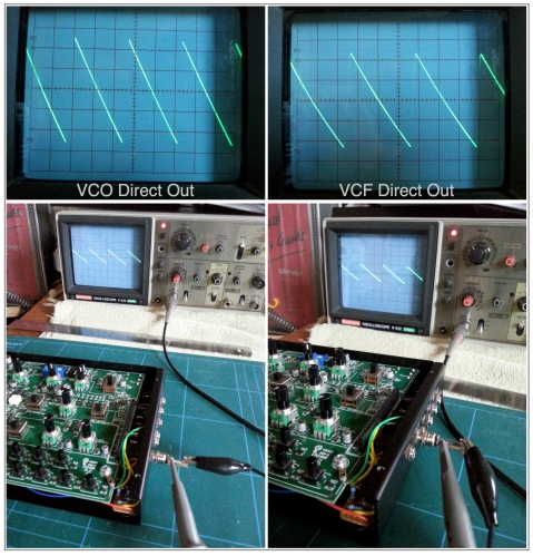 Before and after: VCO and VCF direct outs. Top image 1V scale, bottom image 5V scale