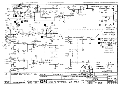 Korg MS-04 schematic, enhanced with component designations