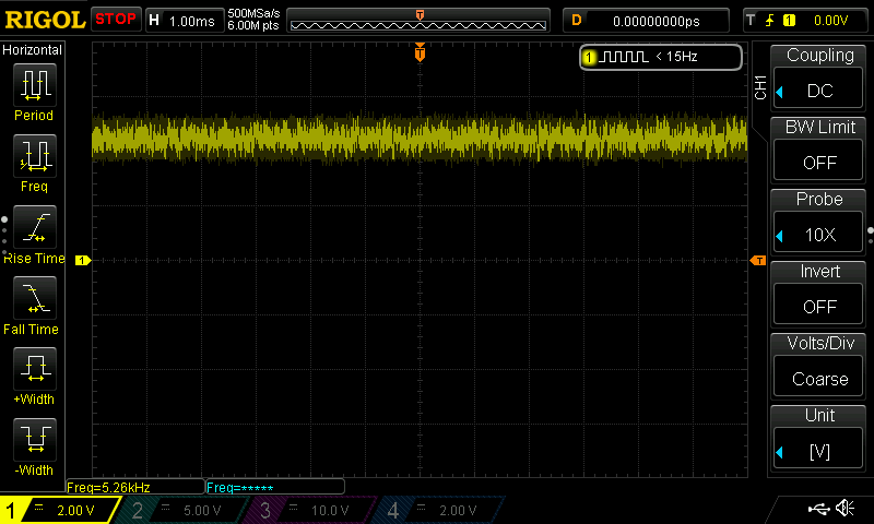 White Noise output from first stage buffer showing DC offset