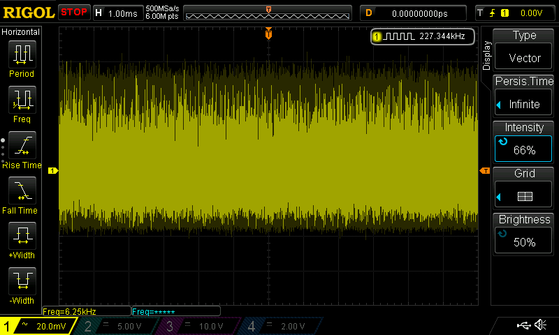 Oscilloscope display of breakdown noise in a BC182L transistor
