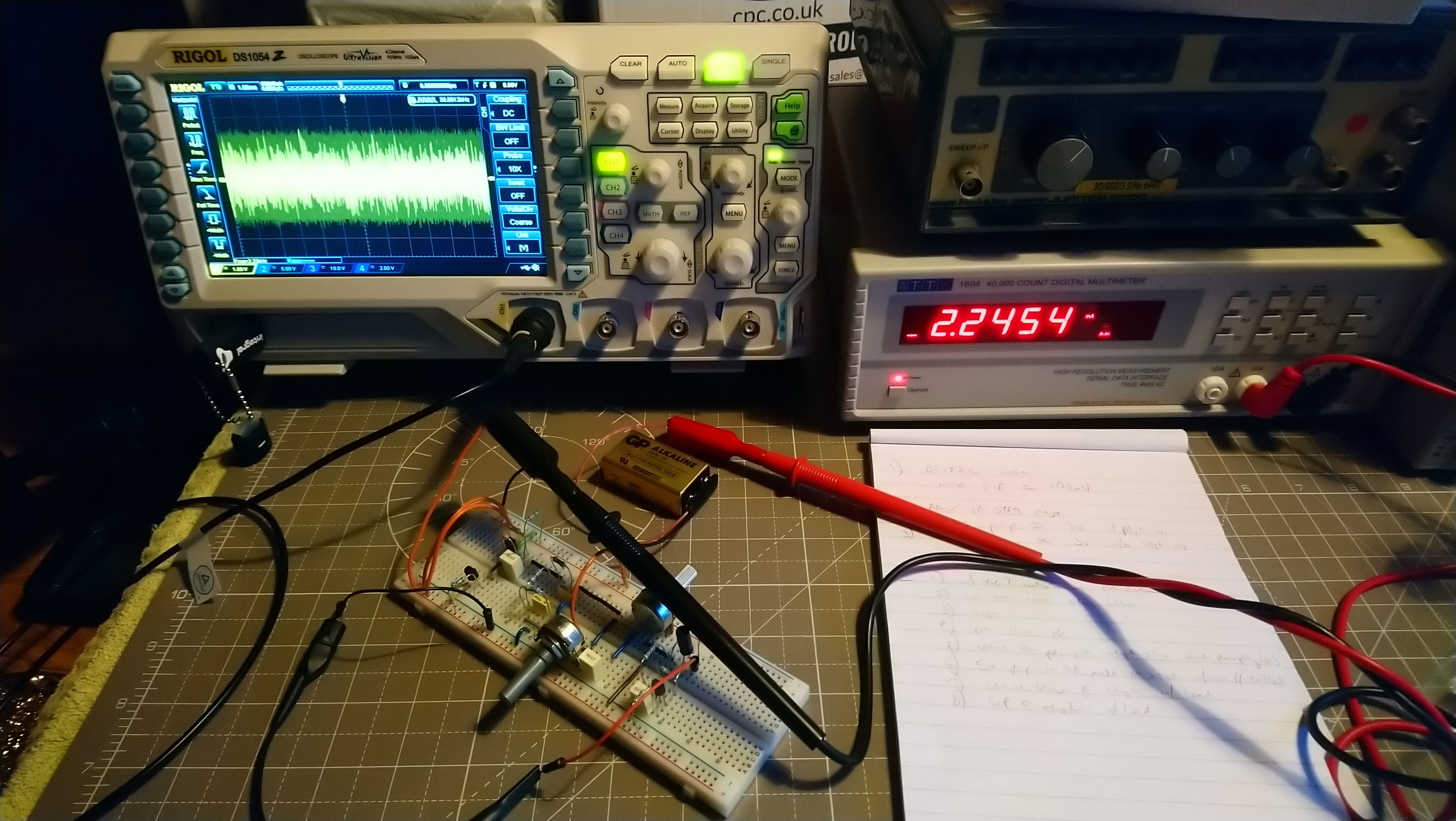 Photo of the white noise circuit during testing