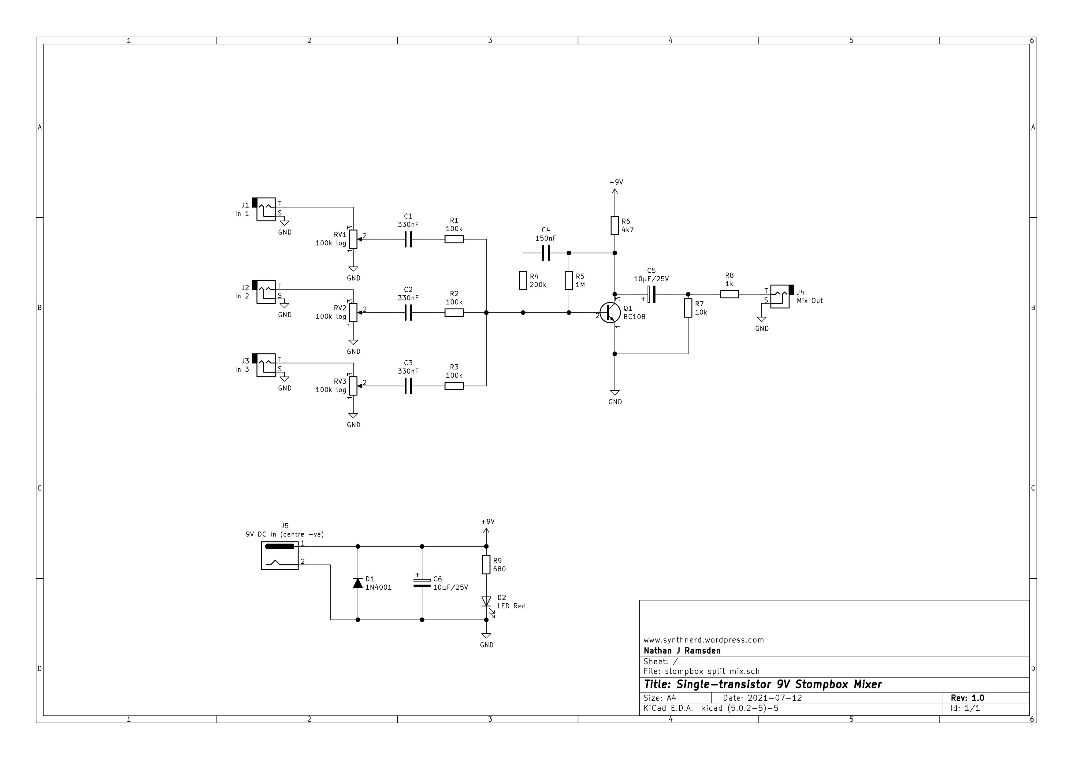 DIY Stompbox Mixer Schematic